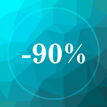 low price: 90 percent discount icon. 90 percent discount website button on blue low poly background.