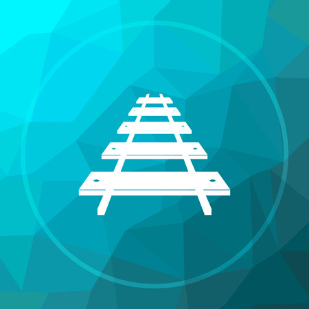 Rail road icon. Rail road website button on blue low poly background. Stock Photo