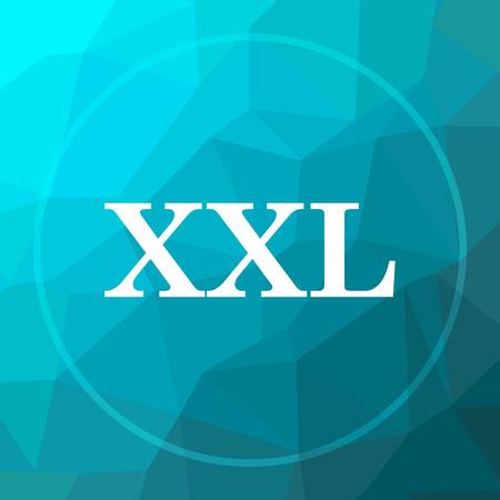 XXL  icon. XXL  website button on blue low poly background. Stock Photo