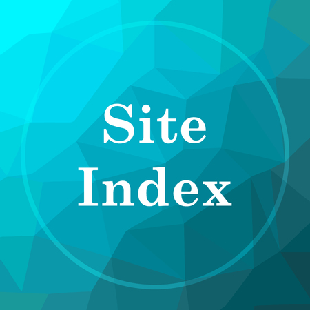 Site index icon. Site index website button on blue low poly background.