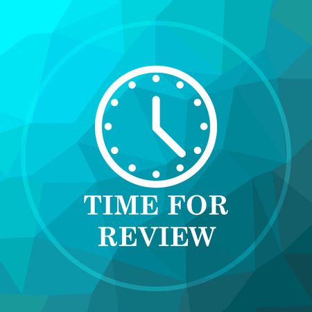 assess: Time for review icon. Time for review website button on blue low poly background.