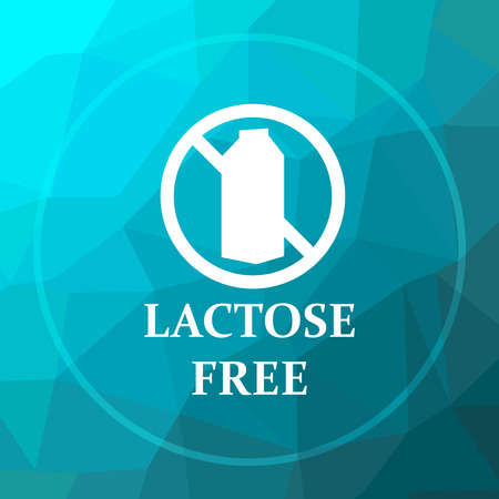 lactose: Lactose free icon. Lactose free website button on blue low poly background.