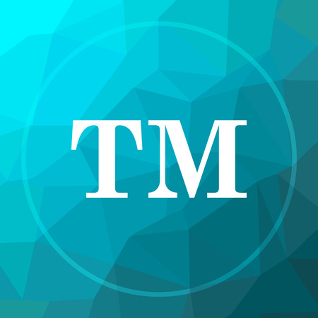 Trade mark icon. Trade mark website button on blue low poly background.