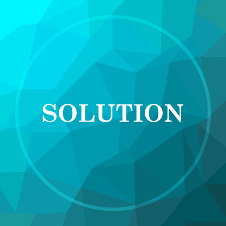 Solution icon. Solution website button on blue low poly background.