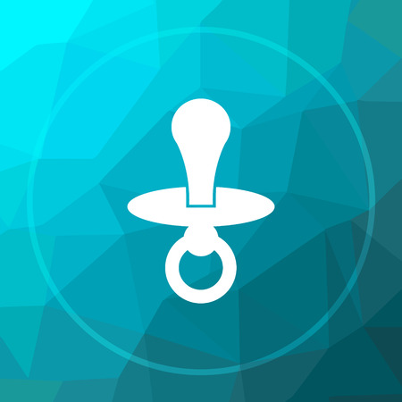 teething: Pacifier icon. Pacifier website button on blue low poly background. Stock Photo