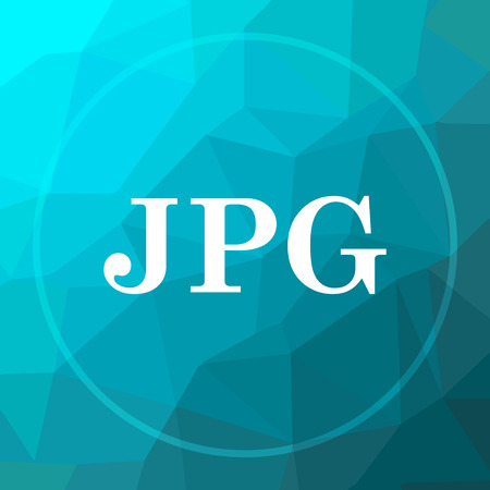 JPG icon. JPG website button on blue low poly background.