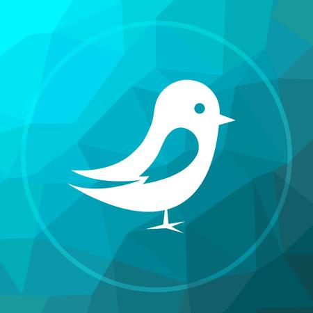 Bird icon. Bird website button on blue low poly background. Stock Photo