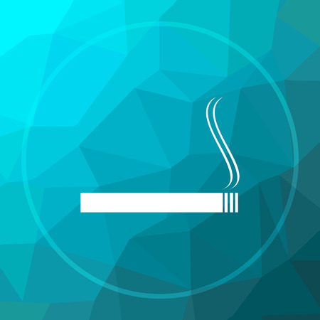 prohibit: Cigarette icon. Cigarette website button on blue low poly background.