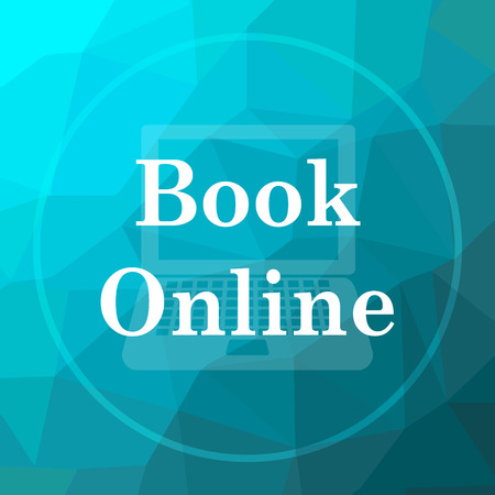 Book online icon. Book online website button on blue low poly background.