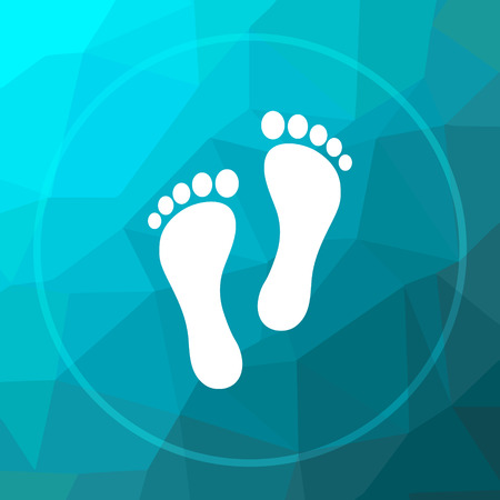 impression: Foot print icon. Foot print website button on blue low poly background.