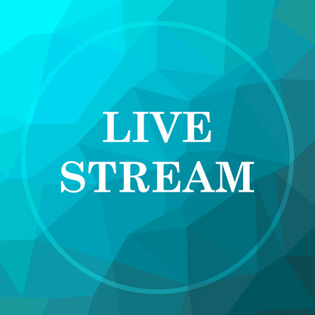 livestream: Live stream icon. Live stream website button on blue low poly background. Stock Photo