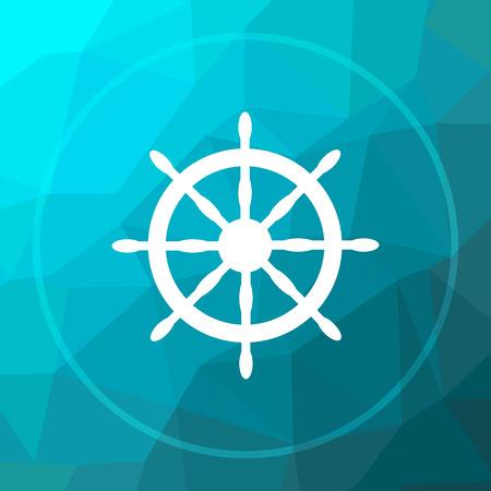 Nautical wheel icon. Nautical wheel website button on blue low poly background.