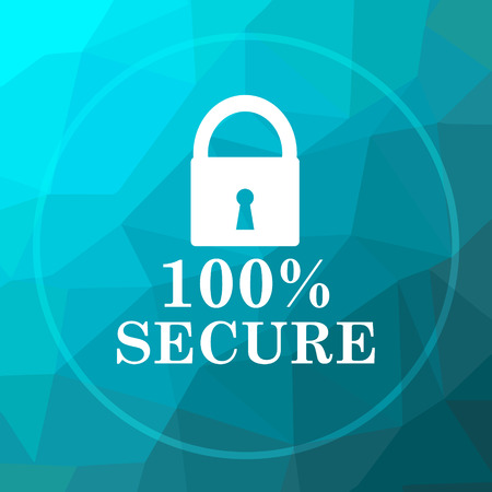 100 percent secure icon. 100 percent secure website button on blue low poly background.