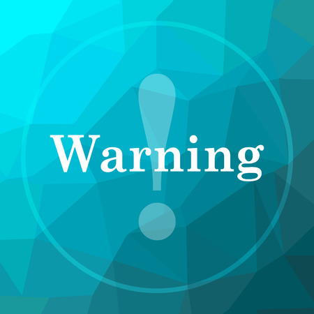 Warning icon. Warning website button on blue low poly background. Stock Photo