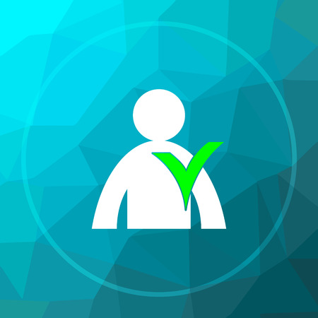 User online icon. User online website button on blue low poly background. Stock Photo