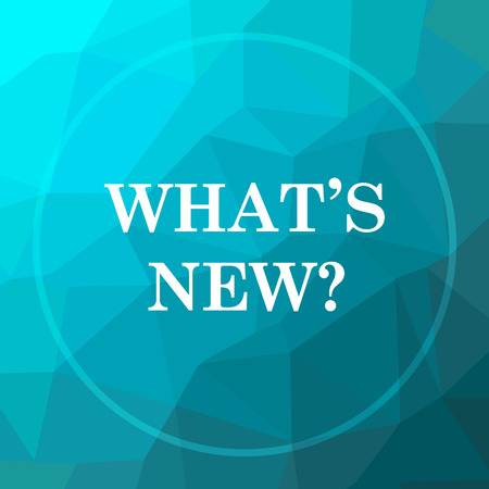 Whats new icon. Whats new website button on blue low poly background.