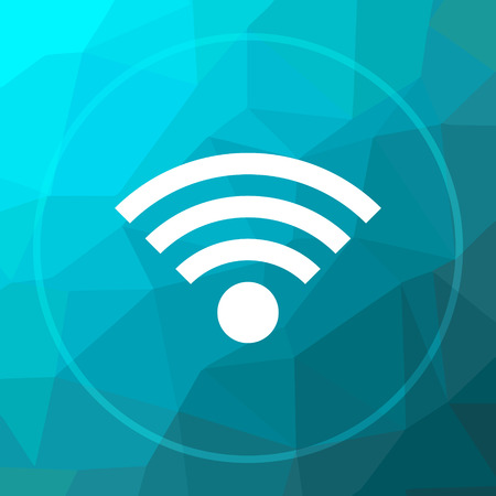 Wireless sign icon. Wireless sign website button on blue low poly background.