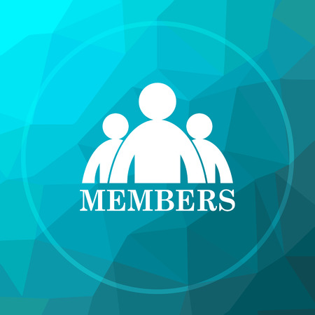 compañerismo: Members icon. Members website button on blue low poly background. Foto de archivo