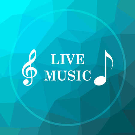live stream tv: Live music icon. Live music website button on blue low poly background.