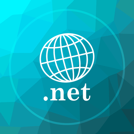 .net icon. .net website button on blue low poly background. Stock Photo