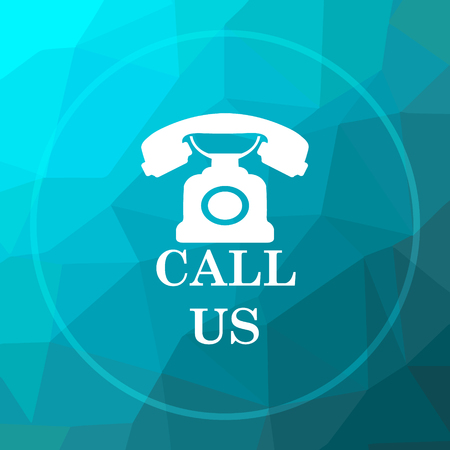 Call us icon. Call us website button on blue low poly background.