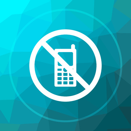 use regulation: Mobile phone restricted icon. Mobile phone restricted website button on blue low poly background.
