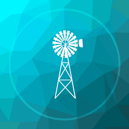 Classic windmill icon. Classic windmill website button on blue low poly background.