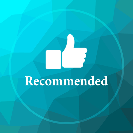 recommendations: Recommended icon. Recommended website button on blue low poly background. Stock Photo
