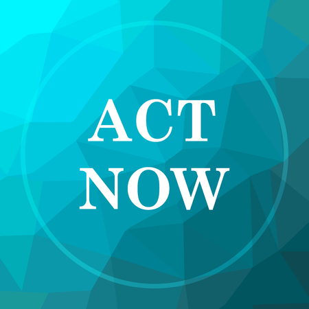 Act now icon. Act now website button on blue low poly background. Stock Photo