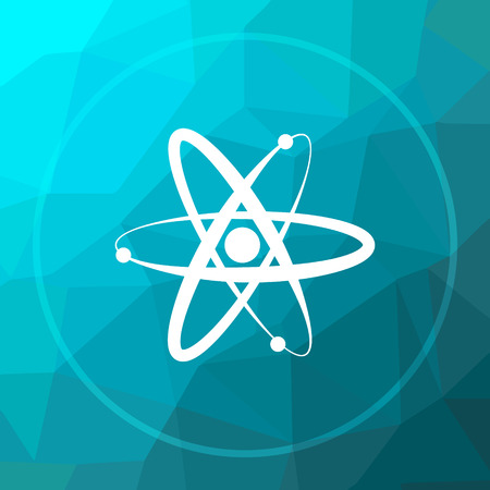 gamma radiation: Atoms icon. Atoms website button on blue low poly background. Stock Photo