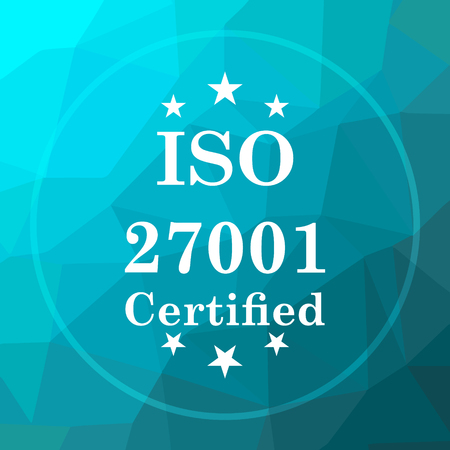 ISO 27001 icon. ISO 27001 website button on blue low poly background.
