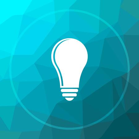 Light bulb - idea icon. Light bulb - idea website button on blue low poly background.