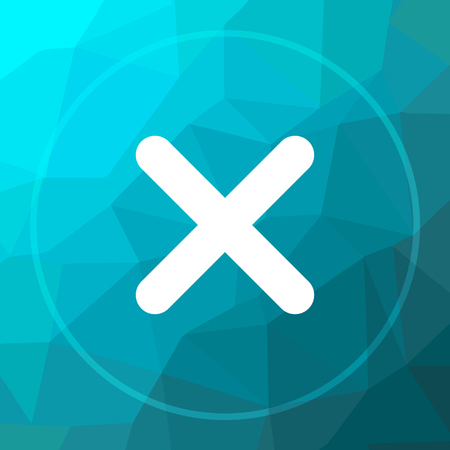 X close icon. X close website button on blue low poly background.