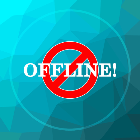 Offline icon. Offline website button on blue low poly background.