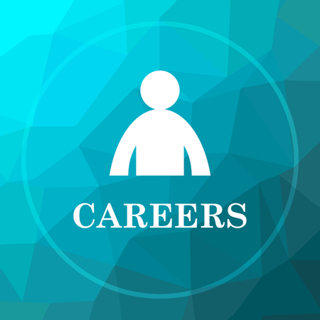 career entry: Careers icon. Careers website button on blue low poly background. Stock Photo