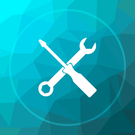 Tools icon. Tools website button on blue low poly background.