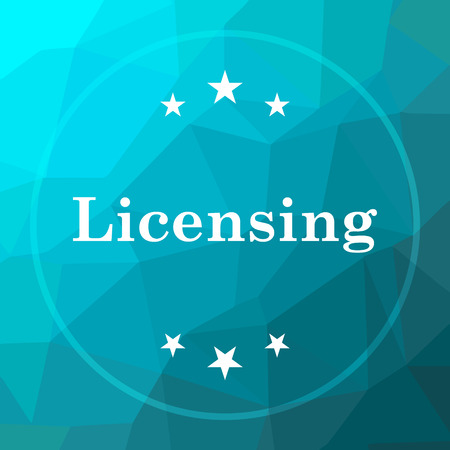 Licensing icon. Licensing website button on blue low poly background.