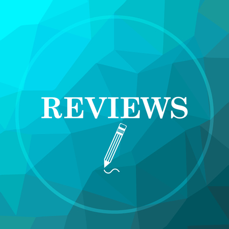 Reviews icon. Reviews website button on blue low poly background.