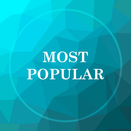 most popular: Most popular icon. Most popular website button on blue low poly background. Stock Photo