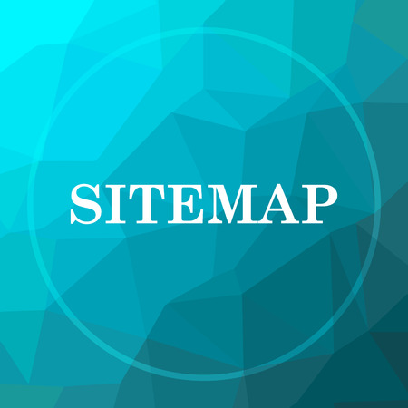 Sitemap icon. Sitemap website button on blue low poly background.
