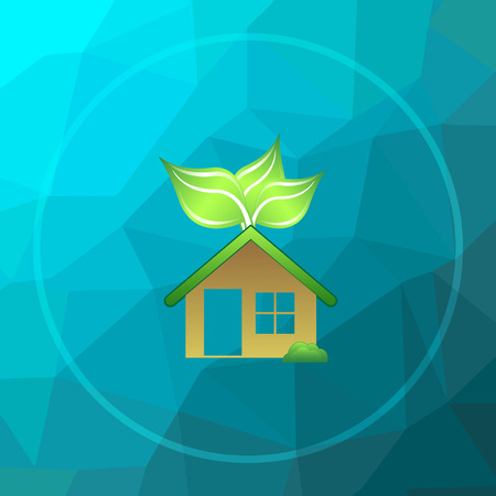 Eco house icon. Eco house website button on blue low poly background.
