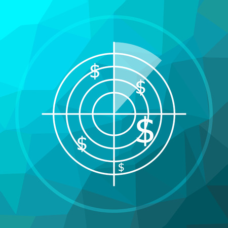 Radar searching money icon. Radar searching money website button on blue low poly background.