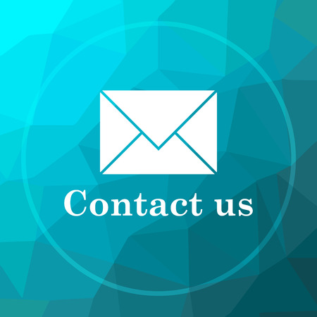 Contact us icon. Contact us website button on blue low poly background.