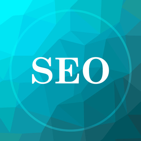 SEO icon. SEO website button on blue low poly background.