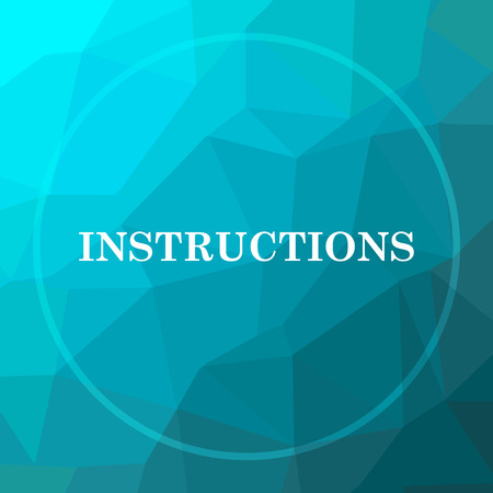 instrucciones: Instructions icon. Instructions website button on blue low poly background.