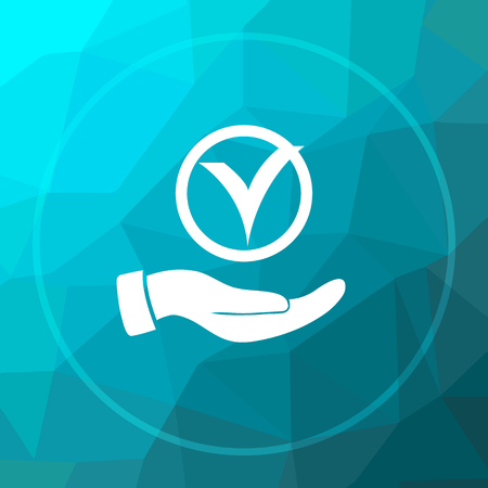 blue button: Tick with hand icon. Tick with hand website button on blue low poly background. Stock Photo