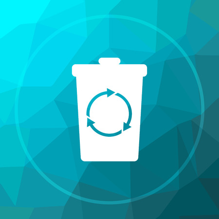 dumpster: Recycle bin icon. Recycle bin website button on blue low poly background. Stock Photo