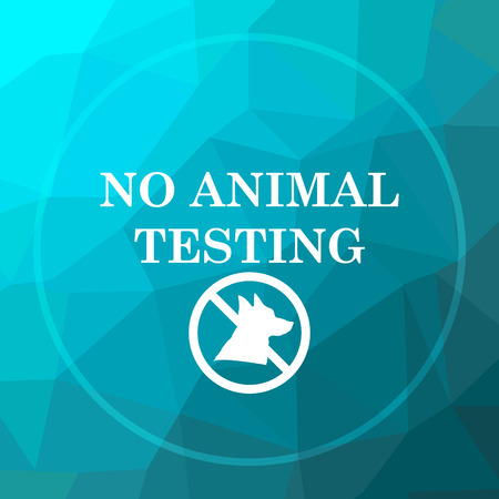 testing: No animal testing icon. No animal testing website button on blue low poly background.