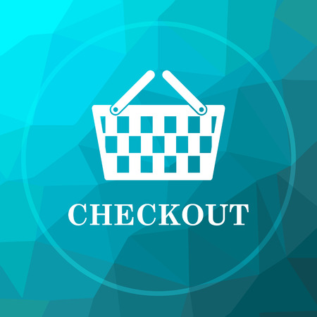 checkout: Checkout icon. Checkout website button on blue low poly background.
