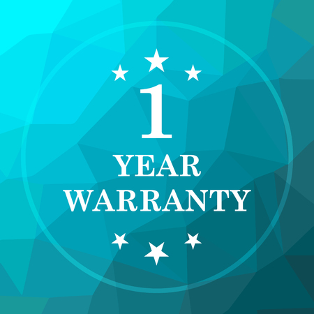 1 year warranty: 1 year warranty icon. 1 year warranty website button on blue low poly background. Stock Photo